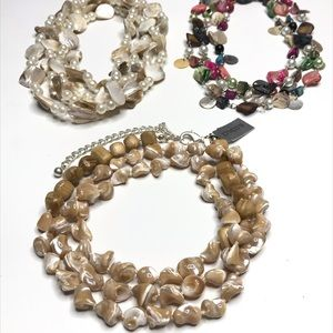 Bundle 3 Necklaces Mother of Pearl Shell Chico's